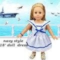 Fashion American Girl Doll Navy Style Dress Fit For 18'' American Girl Doll /BJD Doll Hot Match For Lifelike American Girl Doll