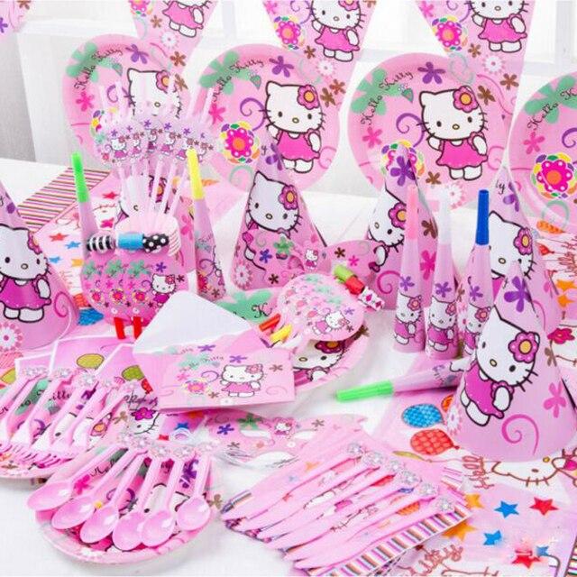 16 1 caja de dibujos animados Hello Kitty vajilla desechable conjuntos de  niños decoraciones de 65dcfefd176