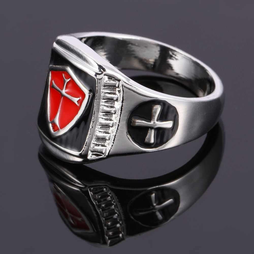 Hnsp Firaun Mesir Cross Jari Cincin untuk Pria Hadiah Perhiasan Emas Warna Perak Pria Circumorbital Ring Anel 8-13 ukuran US