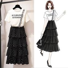 Spring and summer new style Fashion mesh long dress Cute wave point set Chiffon dress Korean version of the new cake dress цена 2017