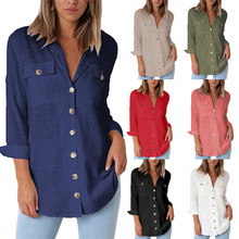 S-2XL chiffon ladies tops turn-down collar pocket shirt autumn spring casual leisure women