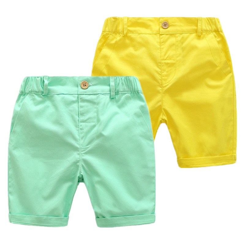 Kids Boys   Shorts   Toddler Clothing Children Casual Solid Soft Cotton Green/Yellow   Shorts   For Baby Boys 3-7 Years Wear