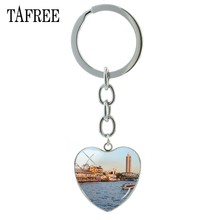 TAFREE The Famous Mei Nan River View Keychains Beautiful Scenery Heart Pendant Key Chain New bag car Pendant Jewelry FA480(China)