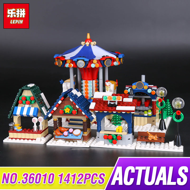 Lepin 36010 1412Pcs The Winter Village Market Set for Children Educational Building Blocks Bricks Toys Compatible 10235 lepin 36010 genuine creative series the winter village market set legoing 10235 building blocks bricks educational toys as gift