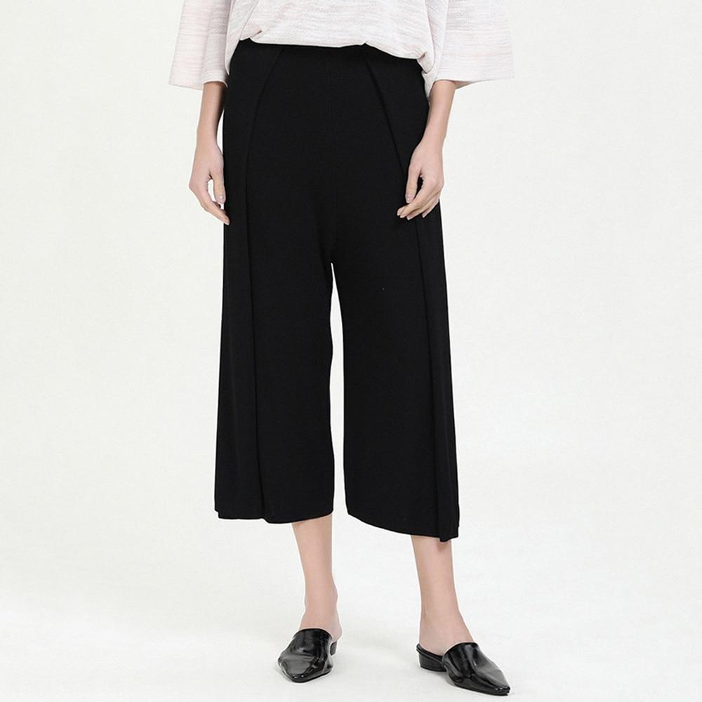 Lady   Pants   Loose Pleated High Waist Summer   Pants   Fashionable Black   Wide     Leg     Pants