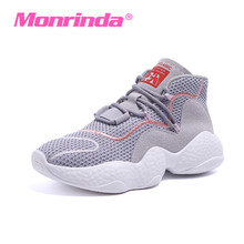 Monrinda Womens Walking Shoes Brand High Ankle Women Boots Gray Sneaker Breathable Lady Sports Non-slip Travel 7.5