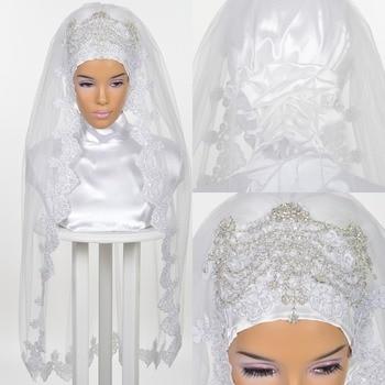 Muslim Wedding Veils for Brides 2019 Bridal Hijab Crystals Sequins Rhinestones Lace Appliques Edge Elbow Length Veil One Layer