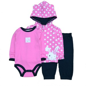 Image 2 - 2019 3PCS/Lot Suits Coat Bodysuit Pants Cotton Long Sleeve Winter Newborn Baby Girls Clothes Baby Boy Clothes Set
