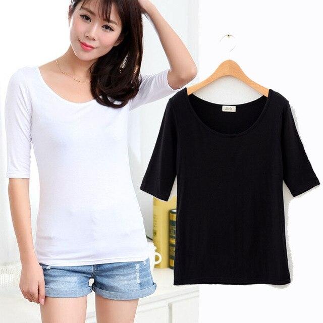 eb8116d8cdd48d white half sleeve t shirt cotton t shirt women black t shirt fashion 2015 Ladies  Woman
