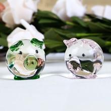 1 Piece Cute Pig Crystal Figurines Miniatures Handmade Glass Animal Pet Crafts Home Decor Kids Gifts
