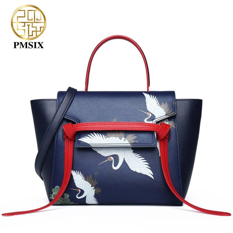 Pmsix Panelled Animal Prints Cow Leather women Handbags Designer Blue Trapeze Shaped Totes Bag Fashion Casual Shoulder Bag
