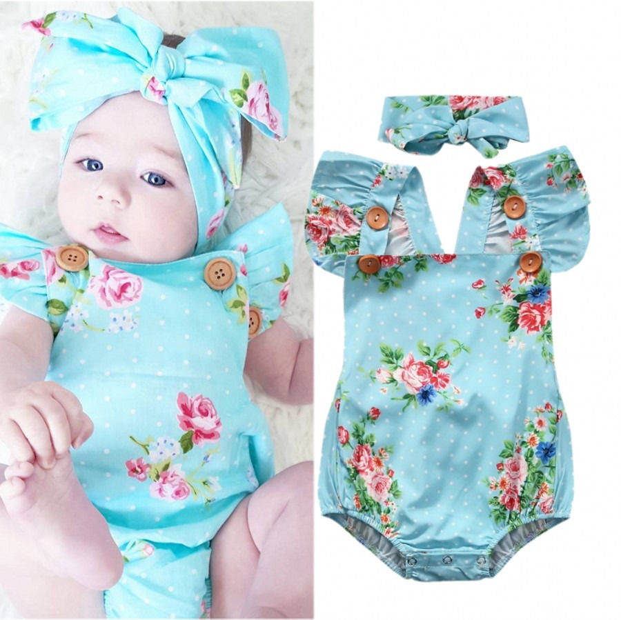 78aed972b4c9 Baby Girl Clothes Bodysuits Floral Baby Girls Bodysuit One-piece Blue  Sunsuit Headband Children Clothing 0-24M