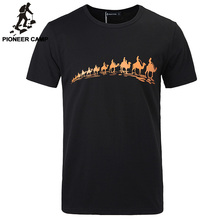 Pioneer Camp célèbre marque hommes courts t shirt camel impression qualité coton mode hommes amples t shirt col rond grande taille 305009