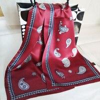 Новый Винтаж 100% чистый 12 мм толстый шелковый шарф Для мужчин Мода Пейсли цветы шаблон печати двойной Слои шелковый атлас шейные платки #4052