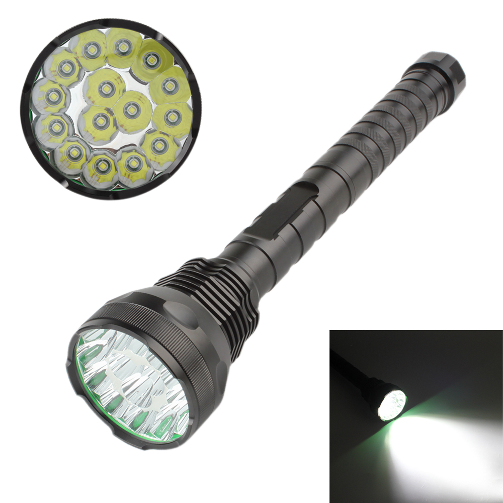 18000Lm 15 x XM-L T6 LED 5 Light Modes Waterproof Super Bright Flashlight with 1200m Lighting Distance 15led cree xm l t6 18000 lumens led flashlight 5 mode waterproof super bright torch flash light 1200m lighting distance light