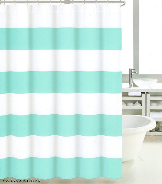 Memory Home Polyester Shower Curtain Wide Stripes Fabric Turquoise Navy Blue Beige 66x72inch