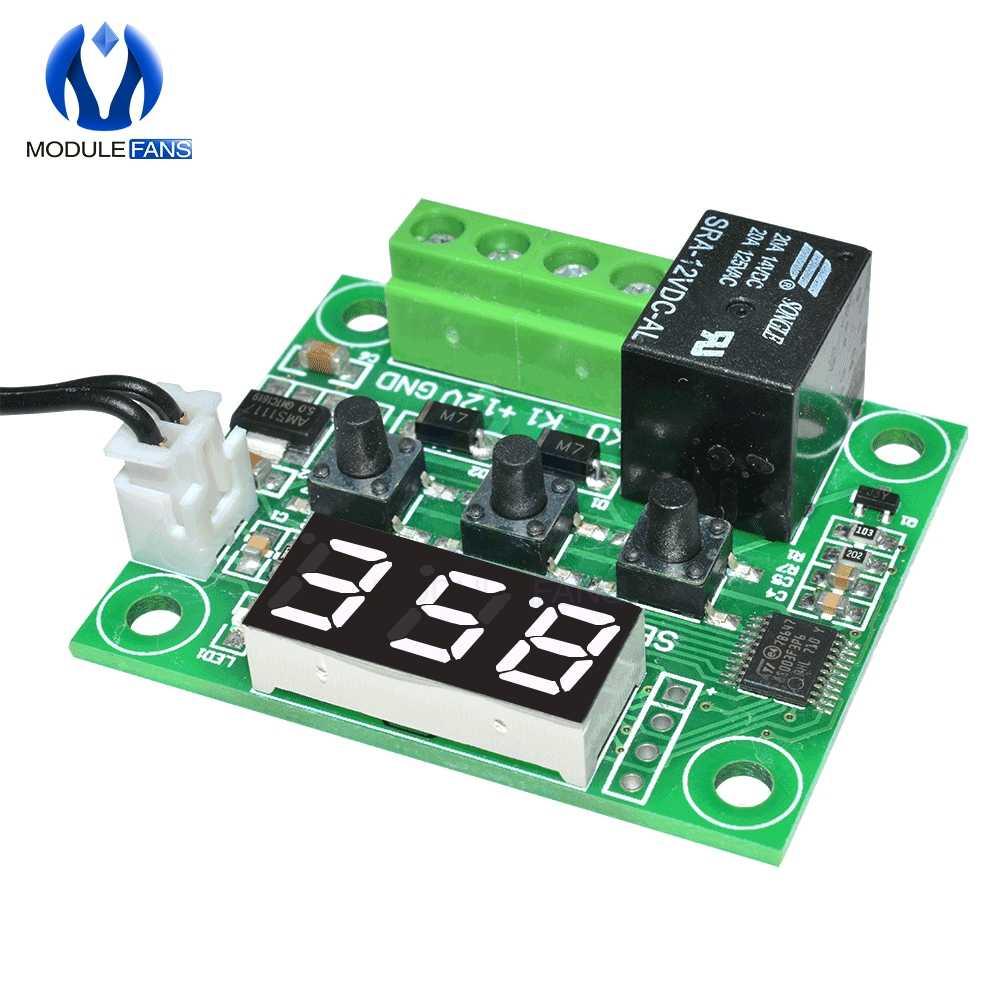 W1209 تيار مستمر 12 فولت أحمر أزرق أخضر أبيض LED ترموستات رقمي التحكم في درجة الحرارة ميزان الحرارة وحدة تبديل + NTC الاستشعار مقاوم للماء