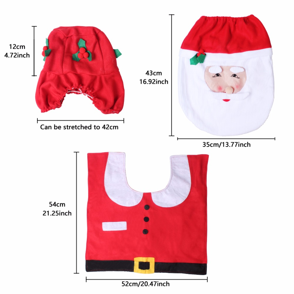 Set Of 3 Santa Claus Toilet Covers Christmas Decorations Set With Toilet Seat Cover Tank Cover And Rug Bathroom Decorations (5)