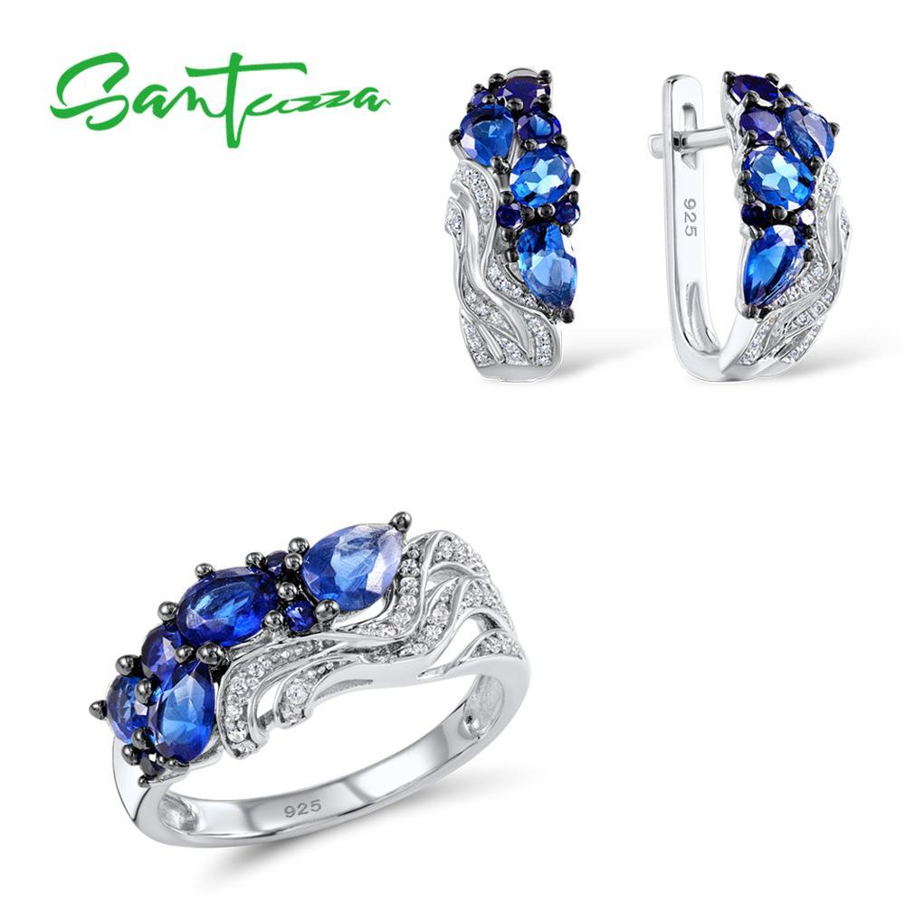 SANTUZZA Silver Jewelry Set Bridal Wedding Jewelry Set Blue CZ Stones Ring Earrings Pendant Set 925