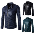 Men's leather zipper decoration personality oblique placket Men's leather coat washed