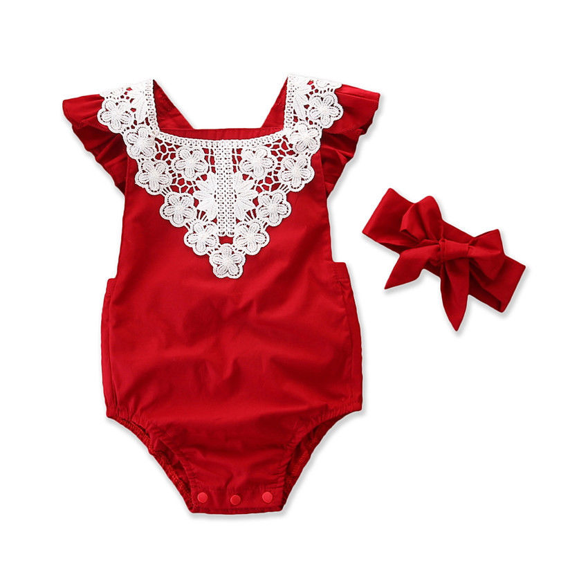 Newborn Toddler Baby Girls Summer Romper 2PCS Short Petal Sleeve Lace Backless Elastic Waist Red Jumpsuits Headband 0-24M db7191 dave bella summer baby girls newborn infant toddler jumpsuits children short sleeve printing clothing baby romper