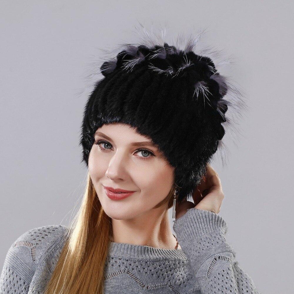 2018 Fashion Winter Warm Women Knitting Real Mink Vertical Weaving Hat Hot Sale Rabbit Fur Mix