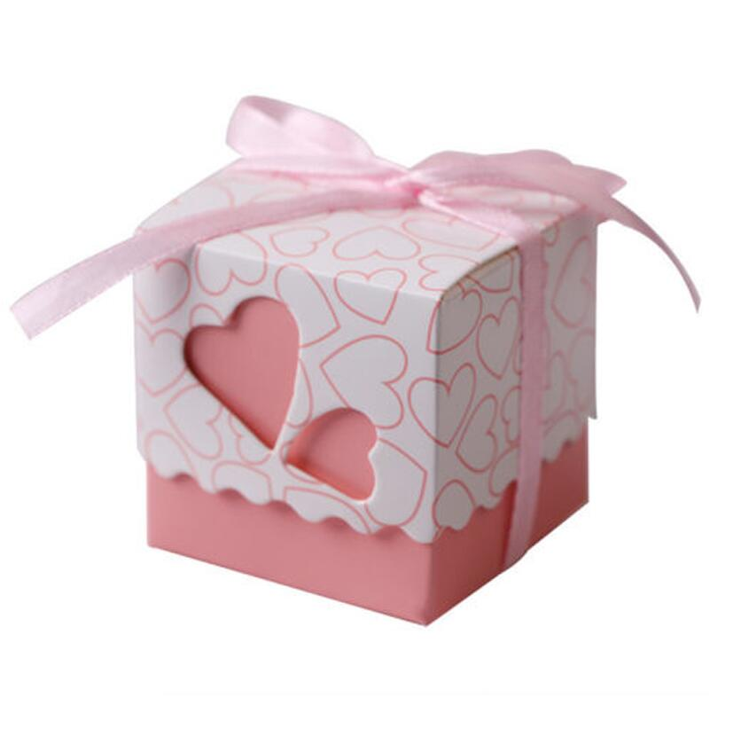 50pcs/lot Hollow Love Heart Cardboard Box Candy Packaging Box Wedding Bonbonniere Gift Box for Wedding Event Party
