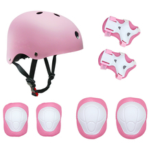 hot deal buy skl 7pcs kid's protective gear set knee pads+elbow pads+wrist pads+ helmet for roller skating skateboard bmx scooter cycling