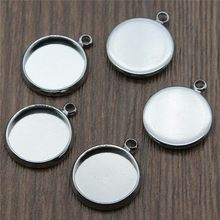 6 Colors Fit 10~25mm Round Glass Cabochon Base Settings Pendant Tray Bezels Jewelry Accessories 10pcs/lot(China)