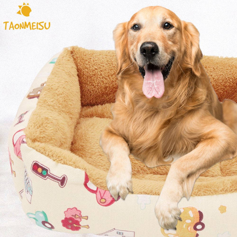 2 Style Pet Dog Cat Warm Bed Colorful Striped Warm Canvas cotton Kennel Dog Bed House Sofa Winter Square Mats Doghouse ...