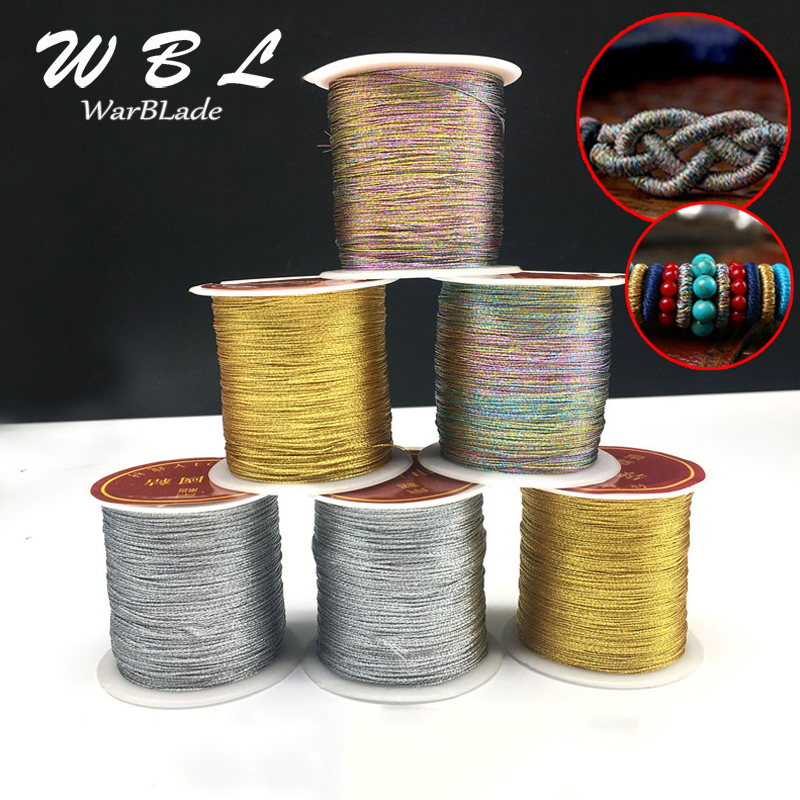 Colorful Silver Gold Cord 0.2mm 0.4mm 0.6mm 0.8mm 1mm Nylon Cord Thread String Rope Bead For DIY Tassel Bracelet Jewelry Making