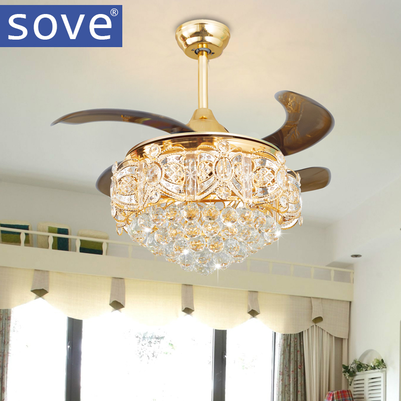Modern LED Luxury Gold Contemporary Folding Crystal <font><b>Ceiling</b></font> Fans With Lights Remote Control Ventilador Teto Techo Home Fan Lamp