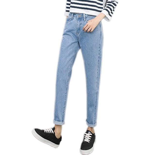 80bdebdfb0f4a Women Vintage Summer Boyfriend Jeans High Waist Washed Button Blue Denim  Long Harem Pants Jeans Plus Size Femme 2018 Fashion