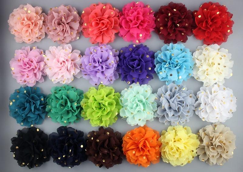 100pc lot 4inch Polka dot chiffon flower with rhinestone fabric flowers for headbands 24colors flat back