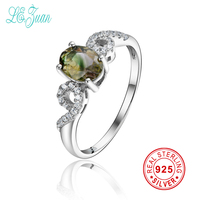 L Zuan 925 Sterling Silver Rings For Women Oval Shaped Natural Yellow Green Tourmaline Rings Fine