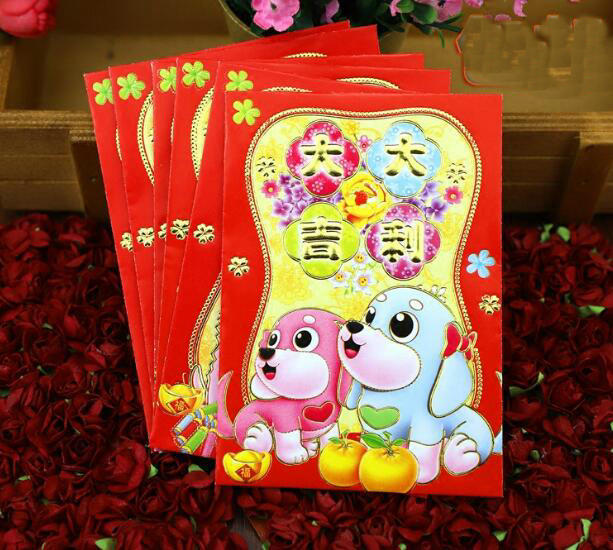 Freeshipping new 18pcs  8*11.5cm cartoon Red Envelopes Chinese New Year Red Envelope Red Packet wholesale