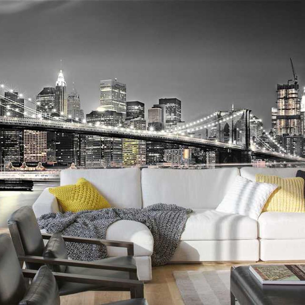 The Brooklyn Bridge Night View 3D Wallpaper Mural Photowall 3d Papel De Pared PW11201601