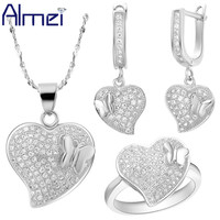 Almei Jewelry Sets Lady Silver Zircon Fashion Micro Pave Crystal Love Heart Wedding Accessories for Women Gifts Promotion T129