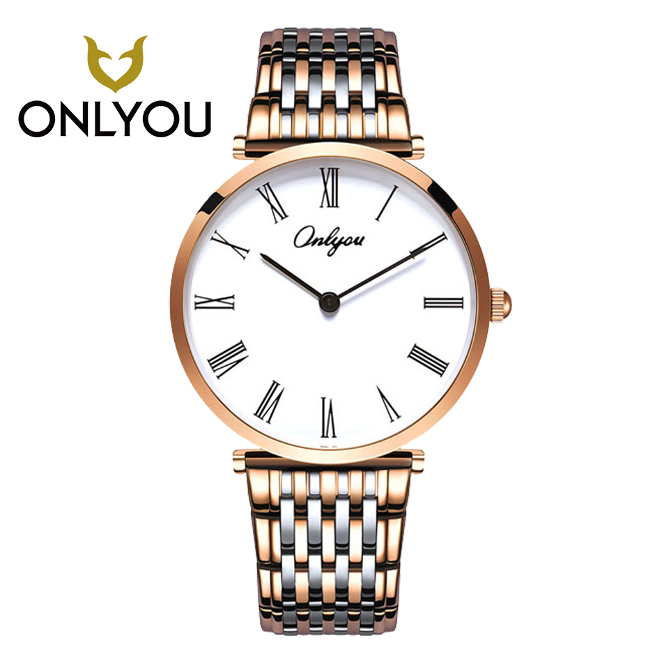 ONLYOU Relogio Feminino Clock Luxury Brand Women Watch Stainless Steel Watches Ladies Fashion Casual Men Watch Quartz Wristwatch feitong luxury brand watches for women ladies watch full stainless steel gold mesh band wristwatch wristwatch relogio feminino