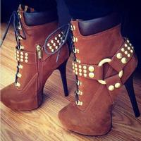 2018 Winter Sexy Women Favorite Thin High Heel Lace Up Gold Ring Buckle Short Boots Fastening Studded Cross Strap Dress Booties