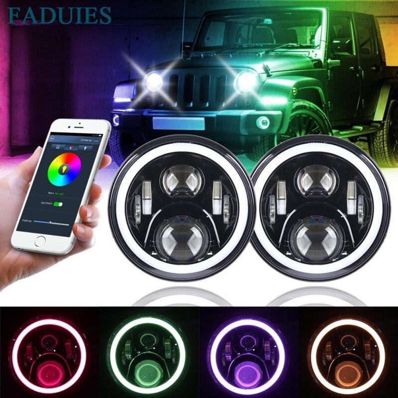 FADUIES 7-дюймовый круглый светодиодные фары Daymaker проект РГБ Венчик для джип Вранглер Bluetooth Телефон приложение управления джип фары (пара)