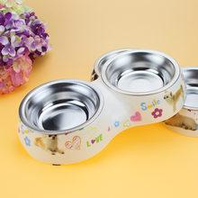 Köpek besleyici çift çıkarılabilir paslanmaz çelik köpek kase melamin plastik taban Pet yemek tabağı besleme ve sulama malzemeleri