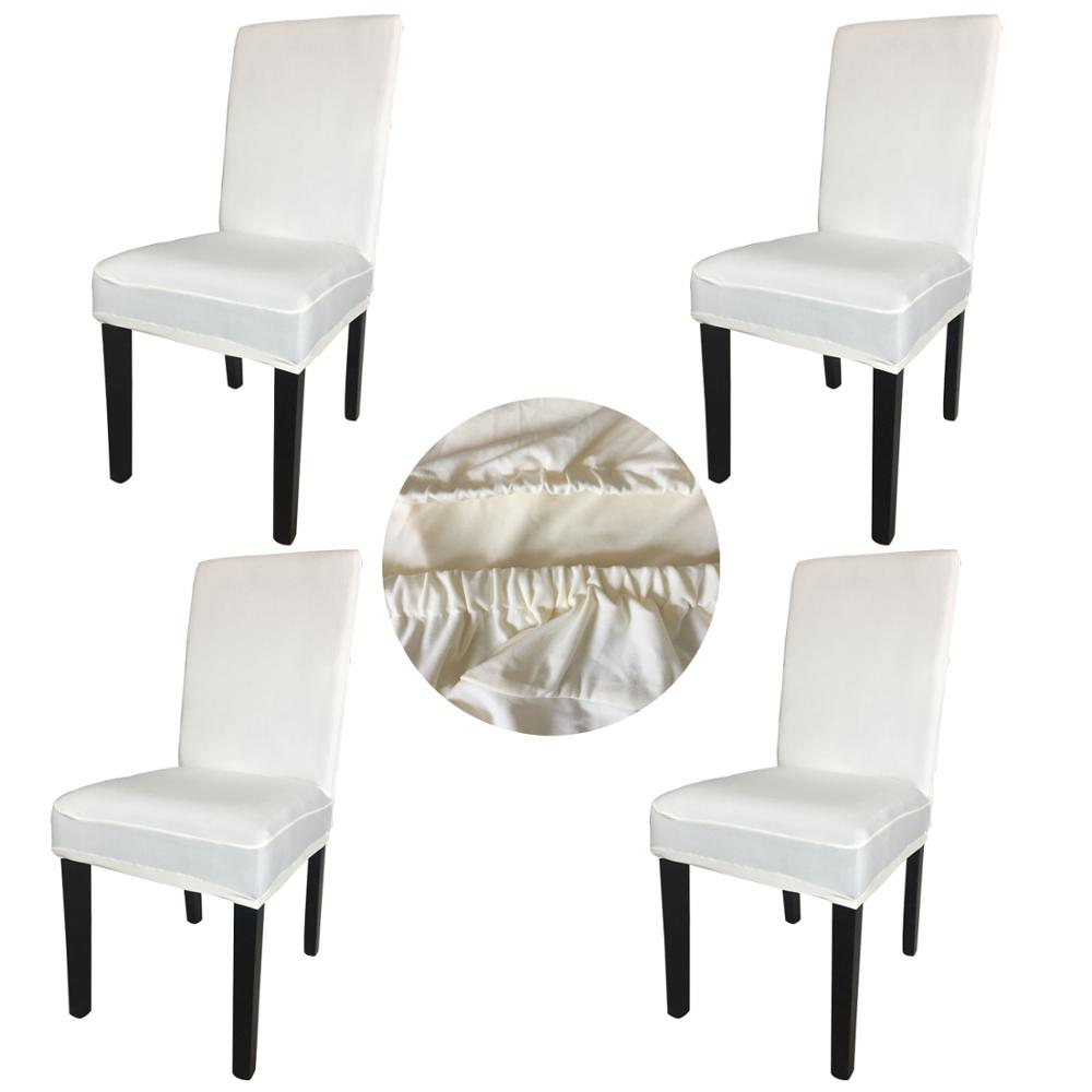 Wholesales 4 Pieces Cream Spandex Fabric Stretch Removable Washable Dining Room Chair Cover Protector Seat Slipcovers SCS-4CR