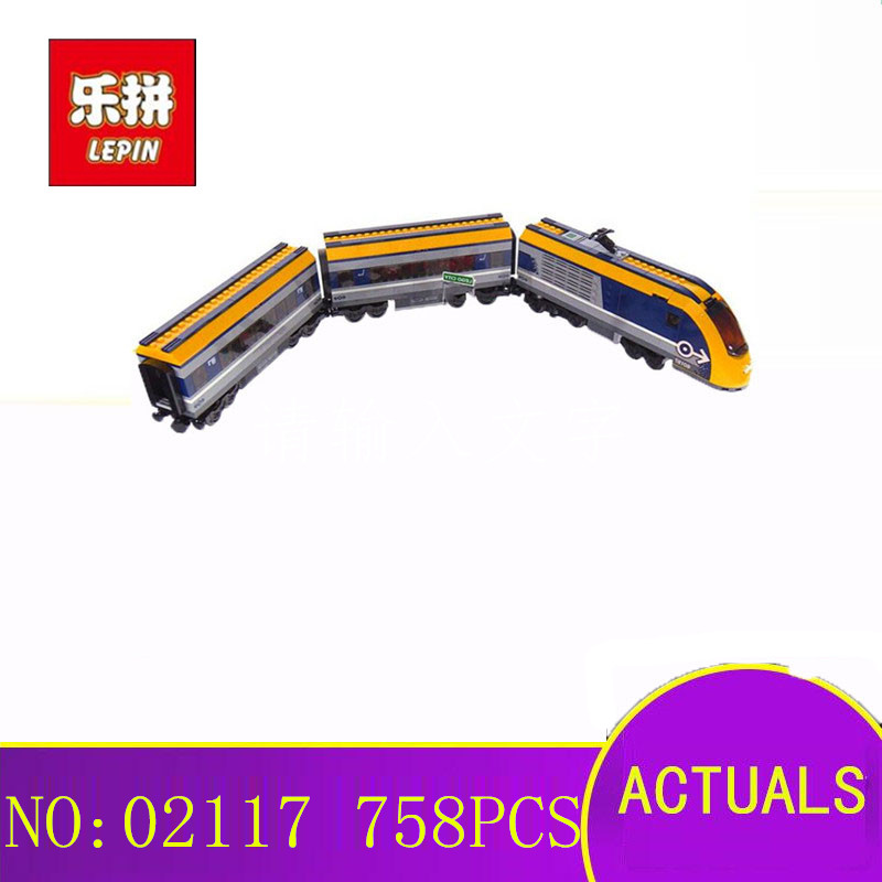все цены на Lepin 02117 City Series 60197 Toys Passenger Train Set Model Building Blocks Bricks Kits Toys for Kids Gifts Compatible LegoING онлайн