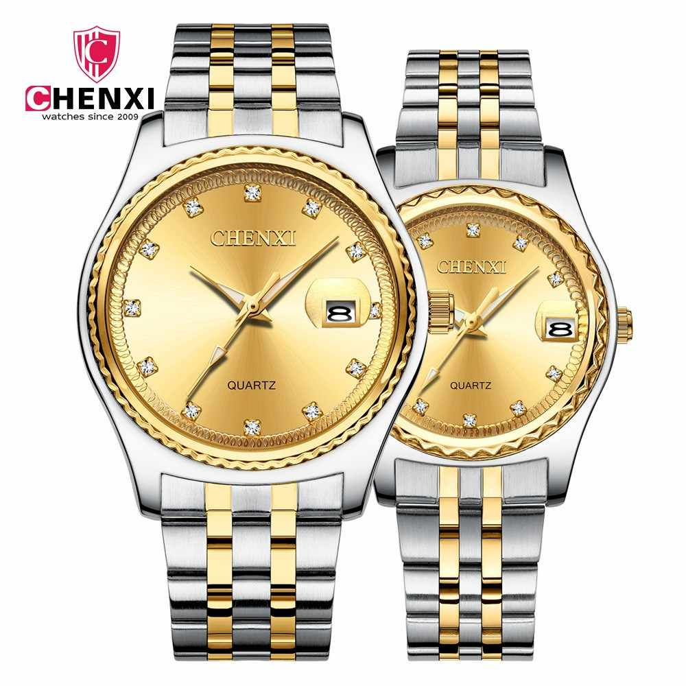 Brand CHENXI Luxury Women Dress Gold Watches Business Silver Between Gold Steel Strap Casual Waterproof Classic Lady Clock Gift