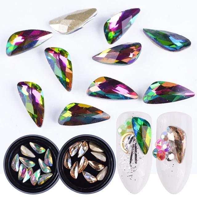 10pcs Colorful Wing Rhinestones Crystal Nail Art Strass Glitter Stone 3D  Diamond Design Jewelry Gem Manicure 028304cb4b9b