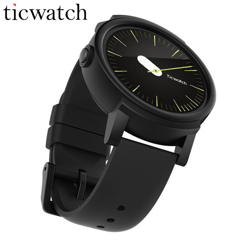 D'origine Ticwatch E Ombre Montre Smart Watch Android Porter MT2601 Dual Core Bluetooth 4.1 WIFI GPS Smartwatch Téléphone IP67 Étanche