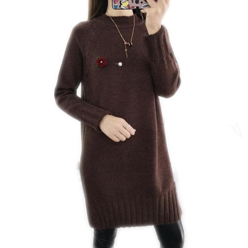 2018 Fashion Loose Winter Autumn Women Knitting Shirt Above Knee Dress Female Turtleneck Casual Thicken Sweater Dress CQ877