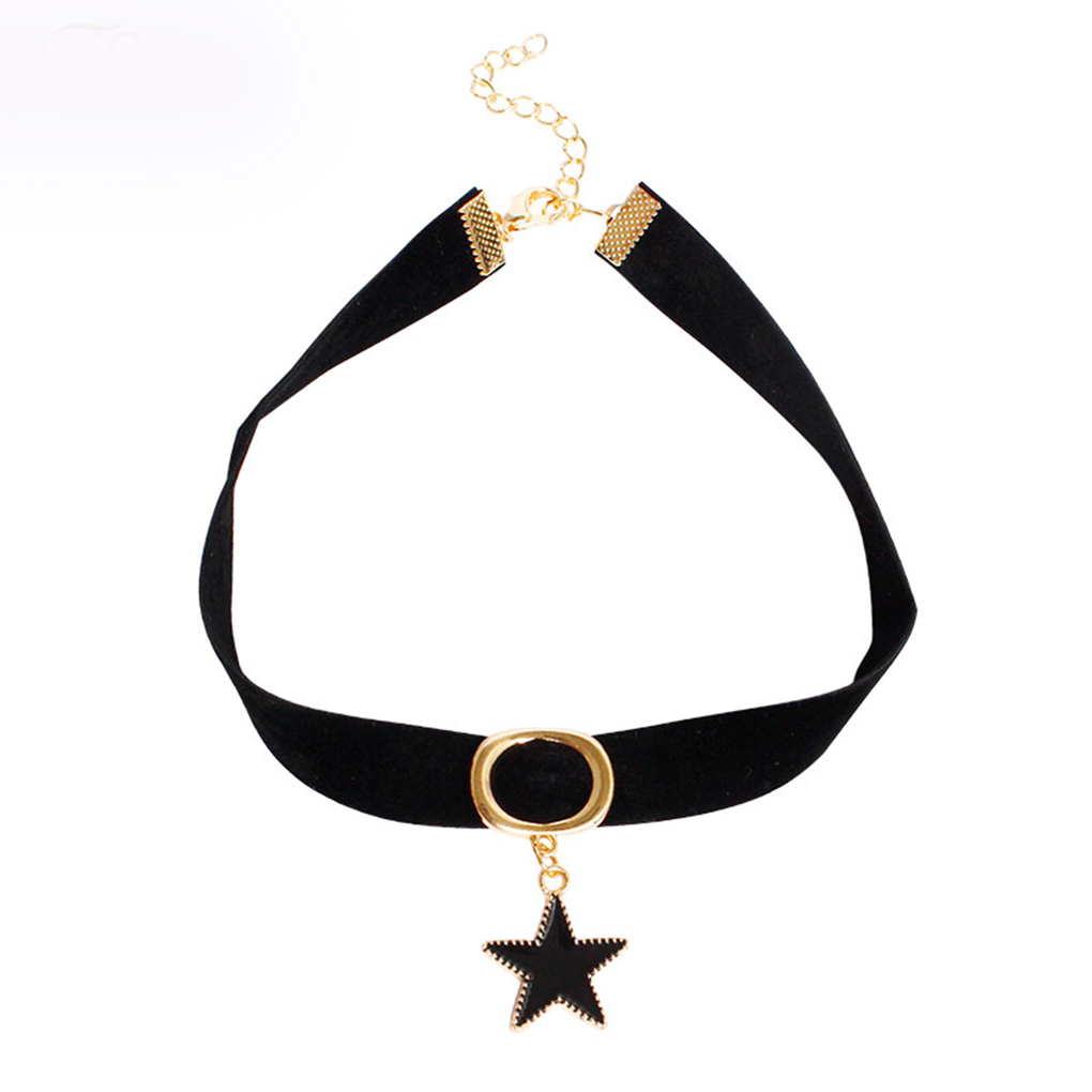 Five-pointed Star Pendants Necklaces Women Punk Velvet Chokers Neck Jewelry Necklace