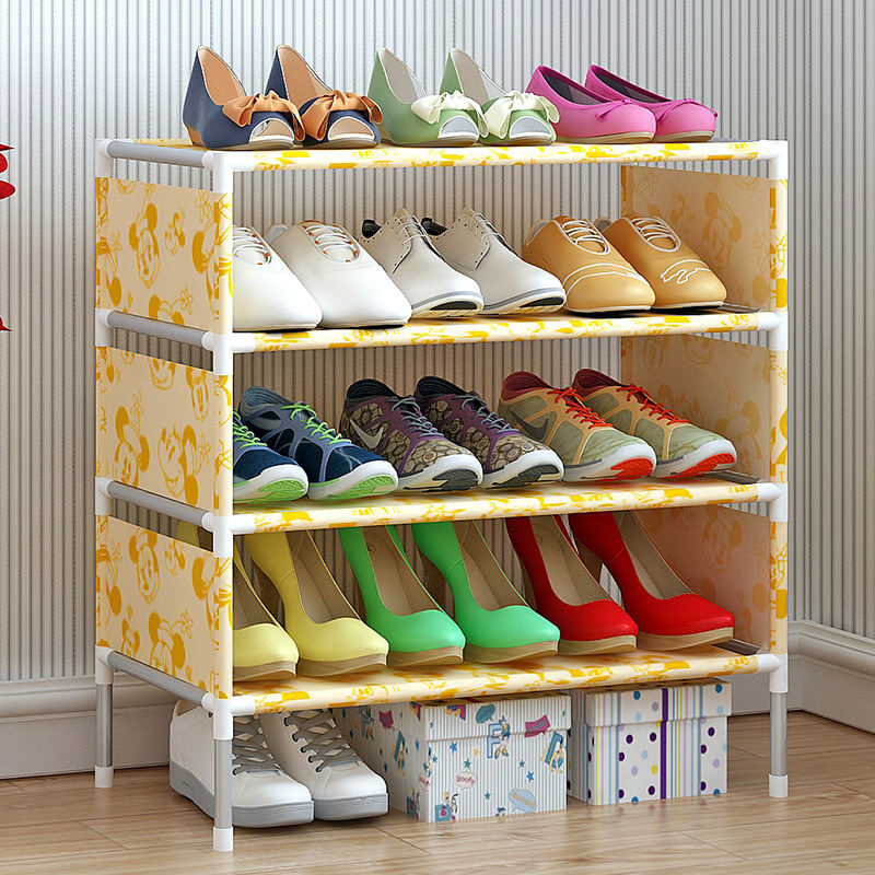 4 Tier Non-Woven Simple Shoe Rack Simple Assembly DIY Combination creative shoe rack easy receive shoe rack non woven